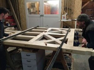 Clamping up Arts and Crafts accoya gates